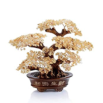 Image of KALIFANO Natural Citrine Gemstone Chakra Crystal Tree with Healing Properties - Bonsai Feng Shui Money Tree for Wealth and Prosperity Home and Kitchen