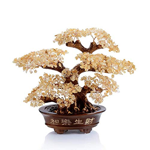KALIFANO Natural Citrine Gemstone Chakra Crystal Tree with Healing Properties - Bonsai Feng Shui Money Tree for Wealth and Prosperity