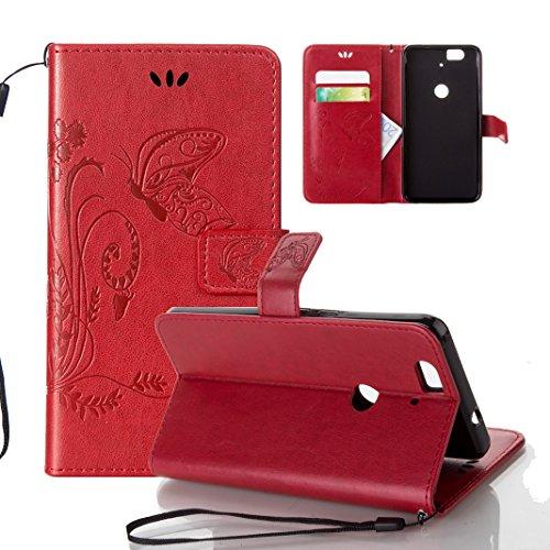 Funda Huawei Nexus 6P OuDu Carcasa de Billetera Funda PU Cuero Carcasa Suave Protectora con Correas de Teléfono Funda Arbol Flip Wallet Case Cover Bumper Carcasa Flexible Ligero Ultra Delgado Caja Ant Rojo