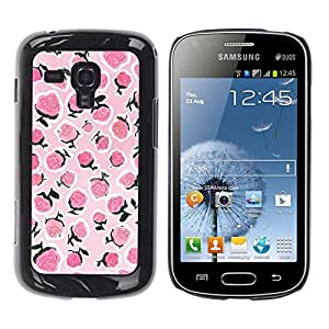 FlareStar Colour Printing Raspberry Pink White Summer Berries cáscara Funda Case Caso de plástico para Samsung Galaxy S Duos / S7562