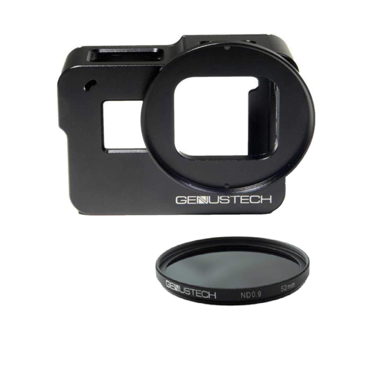 Genustech Genus Cage for GoPro HERO5, HERO6, and HERO7 Black with ND 0.9 (ND8) 52mm 3 Stop Neutral Density Filter