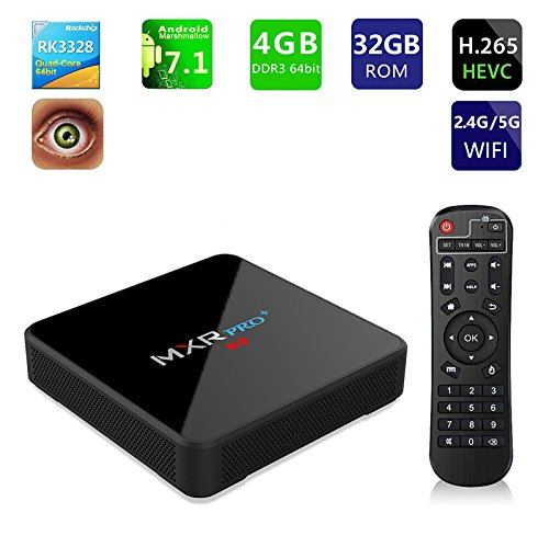 Price comparison product image Android 7.1 TV Box 4GB RAM 32GB ROM Android Box RK3328 Rockchip Quad Core 2.4Ghz / 5Ghz Dual Wifi True 4K Full HD Player with BT USB3.0 (MXRPRO+4G)