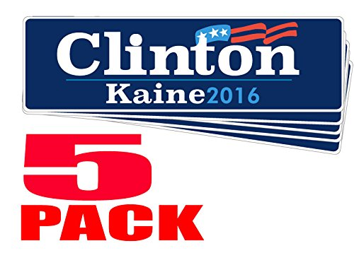 "FIVE Pack BUMPER STICKERS: Clinton Kaine 2016 Vinyl . 3"" x 10"" Vote Hillary and Tim. Democrat Election Campaign"