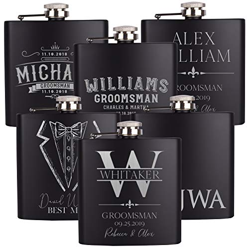 Set of 6, Personalized Groomsmen Gifts For Wedding, 15 Different Designs 2 Optional Gift Boxes, Personalized Flask Groomsman Gifts, Wedding Favor, 6 oz Customized Stainless Steel Hip Flasks