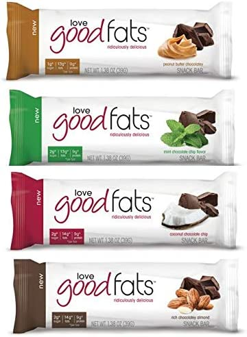 Love Good Fats Bars Keto Snacks for Keto Diet, Low Carb Snacks for Low Carb Diet, Low Net Carbs, Gluten Free, Non GMO – VARIETY PACK, 12 bars x 39g each