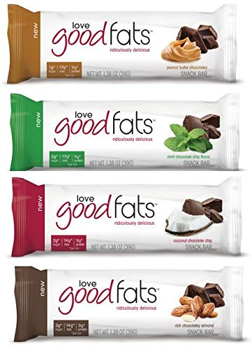 Love Good Fats Bars (Keto Snacks for Keto Diet, Low Carb Snacks for Low Carb Diet, Low Net Carbs, Gluten Free, Non GMO) – VARIETY PACK,  12 bars x 39g each