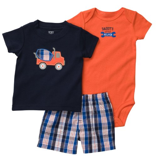 Carters Baby Boys' Navy/Orange Truck 3-Piece Short Set