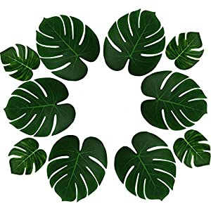 PovKeever 24 Pieces Tropical Palm Leaves Simulation Imitation Plant Leaf for Table Party Hawaiian Luau Party Jungle Beach Theme Party Decorations 45