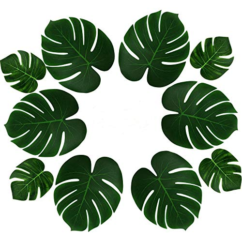 (PovKeever 24 Pieces Tropical Palm Leaves Simulation Imitation Plant Leaf for Table Party Hawaiian Luau Party Jungle Beach Theme Party Decorations)