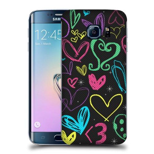 Case Fun Crayon Hearts Snap-on Hard Back Case Cover for Samsung Galaxy S6 Edge