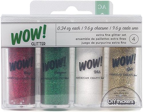 American Crafts 27386 4-Pack Wow Extra Fine Glitter, Christmas 1 -