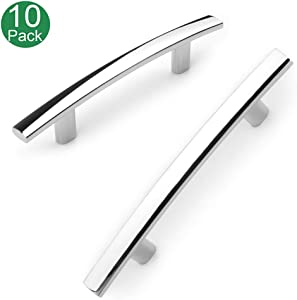 Koofizo Curved Bar Cabinet Pull - Chrome Furniture Arch Handle, 3 Inch/76mm Screw Spacing, 10-Pack for Kitchen Cupboard Door, Bedroom Dresser Drawer, Bathroom Wardrobe Hardware