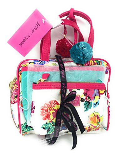 My Weekend 3PC Bag Set | Colorful Flowers with Bees and Butterflies by Betsey Johnson | Pink ()