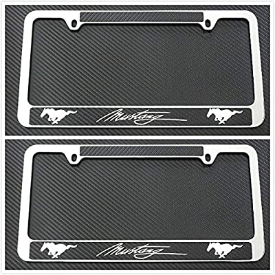 Tuesnut 2X Stainless Steel Mustang Black Carbon Fiber Vinyl License Plate Frame Covers Holder Screws Caps Rust Free: Automotive