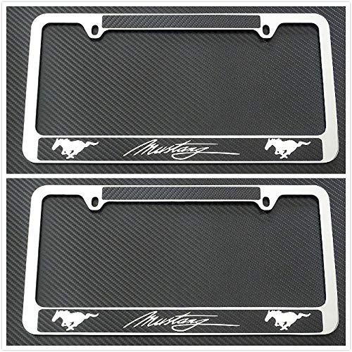 - Tuesnut 2X Stainless Steel Mustang Black Carbon Fiber Vinyl License Plate Frame Covers Holder Screws Caps Rust Free