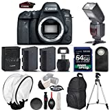 Canon EOS 6D Mark II Digital SLR Camera + Total of 2 Batteries + 64GB Ultra Fast Class 10 Memory Card + Professional Flash + Wireless Remote - International Version (No Warranty) (Body Only)