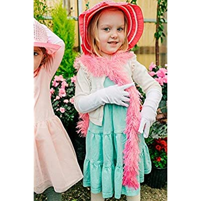 Butterfly Twinkles Girls Tea Party Hat Dress Up Play Set with Pink Sun Hat, Boa, Plastic Pearl Necklace, and White Gloves,: Toys & Games