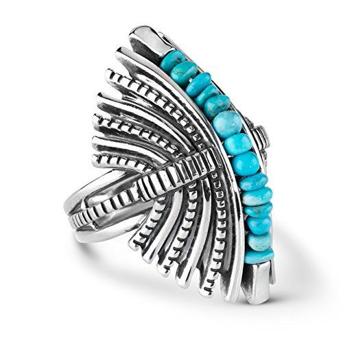 American West Jennifer Nettles Sterling Silver Turquoise Bold Dome Ring (Bold Dome Ring)