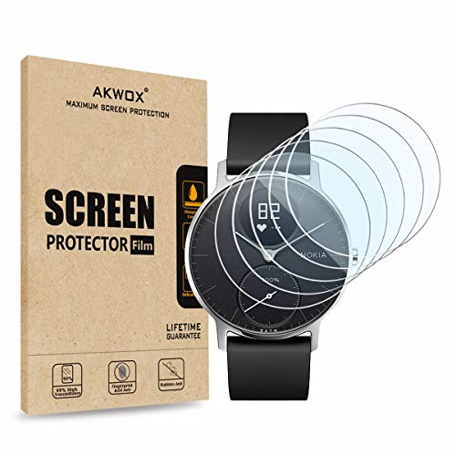 [10-Pack] Screen Protector for Nokia Steel HR (36mm), Akwox Full Coverage HD Clear Anti-Bubble Screen Protective Film