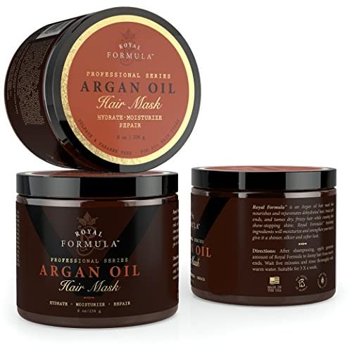 Argan Oil Hair Mask, 100% ORGANIC Argan & Almond Oils - Deep Conditioner, Hydrating Hair Treatment Therapy, Repair Dry Damaged, Color Treated & Bleached Hair - Hydrates & Stimulates Hair Growth, 8 Oz