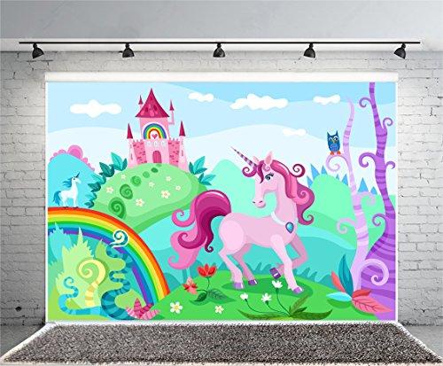 (Leowefowa 7X5FT Unicorn Backdrop Castle Backdrops for Photography Fairytale Rainbow Fresh Flowers Blue Sky White Cloud Dreamland Vinyl Photoground Cartoon Grils Princess Happy Birthday Studio Props)
