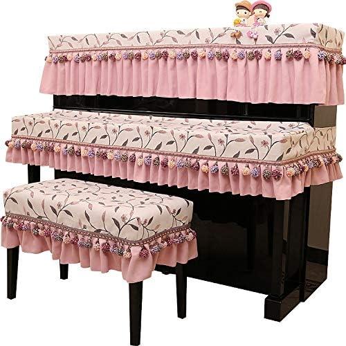 ピアノ保護カバー 3PCSアップライトピアノカバー防塵保護布カバーShefneyピアノトップカバーベンチとキーボードカバー (色 : ピンク, サイズ : 76x36cm)