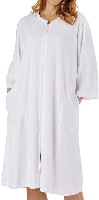 Ladies Slenderella Floral Embossed 3//4 Sleeve Zip Up Dressing Gown Robe