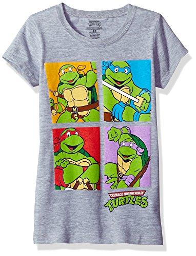 Teenage Mutant Ninja Turtles Girls' Little Ninja Turtle Faces Cap Sleeve T-Shirt, Heather Grey, L-12/14