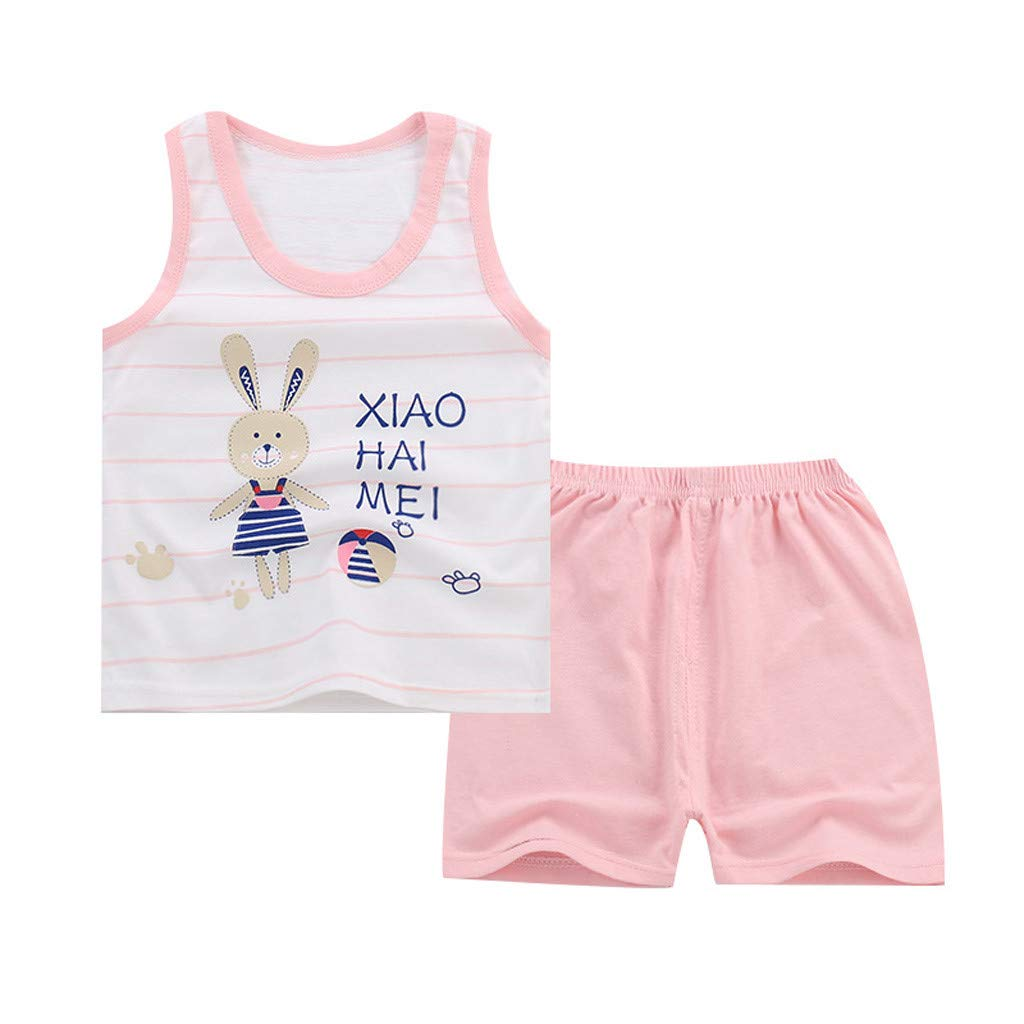 Tensay Baby Boy Girl Kids Sleeveless Cartoon Tracksuit Sport Suit Vest Pants Clothing Kids Outfits
