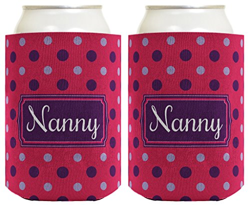 Mother's Day Gift for Nanny Cute Polka Dot 2 Pack Can Coolie Drink Coolers Coolies Polka Dot