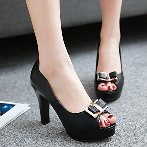 Easemax High Heels Shoes Office Chunky Pumps Bows Dressy Black Womens Platform Peep Wear On To Toe Work Slip gIxqgXSw