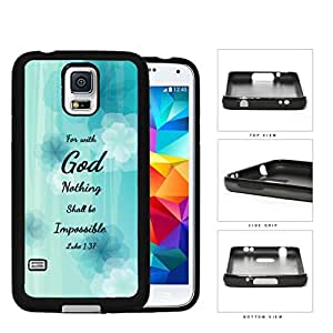 Luke 1:37 Bible Verse Light Blue Pastel Background with White/Blue Flowers Samsung Galaxy S5 SM-G900 Rubber Silicone TPU Cell Phone Case