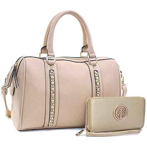 (Dasein Fashion Gold Tone Medium Barrel Satchel Shoulder Handbag Purse with Wallet Set)
