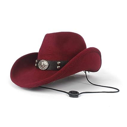 JDDRCASE Sombreros de Moda Gorras, Mujer Hombre Lana Hueco Western Cowboy Hat Caballero Señora Sombrero