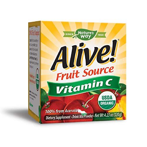Natures Way Alive! Vitamin C Powder, USDA Organic, 100% from Acerola, Kiwi, Lycium (Goji) Amla, Vegetarian, 4.23 oz.