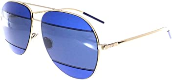Dior 000KU Rose Gold / Blue DiorSplit2 Aviator Sunglasses