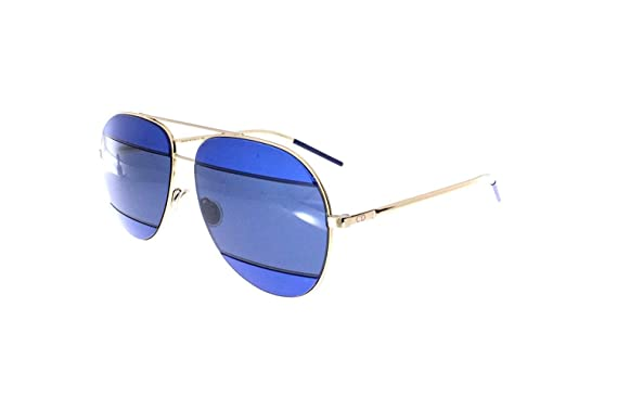 f9c4ce14c61 Dior 000KU Rose Gold   Blue DiorSplit2 Aviator Sunglasses at Amazon ...