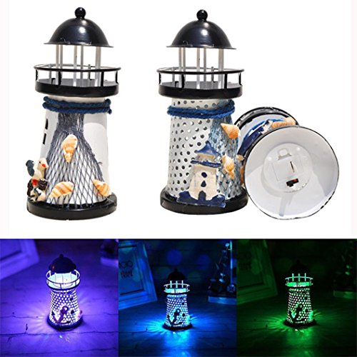 Mediterranean Four Light Vanity (Staron Lighthouse Night Light Decor Candle Tealight Holder Lamp, Marine Model Seagulls Style Nautical Beach Shell Buoy Decoration Vintage Openwork Ocean Lighthouse Wedding Lamp (Black))