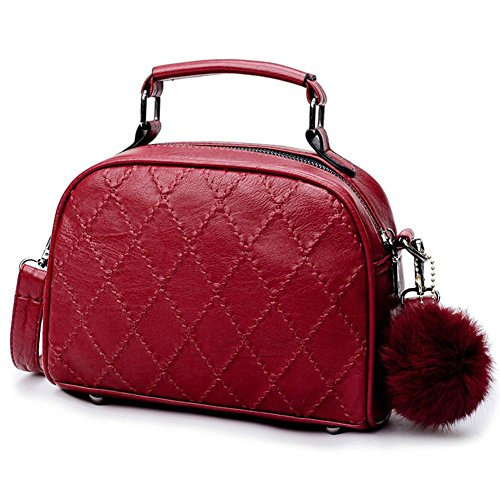 Women Bag Bag Plaid Tote PU Shoulder Fashion Red Handbag Domybest Rhombus Soft Crossbody Bags FfH654qw