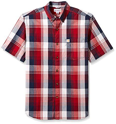 Crimson Plaid - Carhartt Men's Big & Tall Essential Plaid Button Down Collar SS Shirt, Dark Crimson, Medium