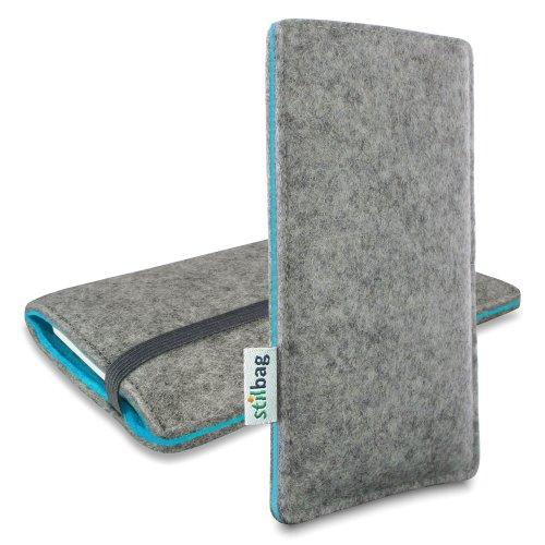 Stilbag Filztasche 'FINN' für Apple iPhone 6s plus - Farbe: hellgrau/azur