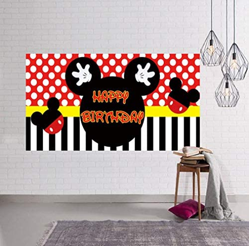 Mickey Mouse Backdrop Mickey Mouse Birthday Party Supplies Decorations Mickey Mouse Photography Photo Background Large Mickey Mouse Birthday Banner (6.6 x 3.3 ft)