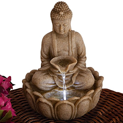 Bits and Pieces - Indoor Buddha Fountain - Zen Tabletop Water Fountain (Fountain Budha)