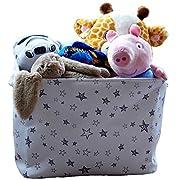 Medium Eco-Friendly Canvas Toy Storage Baskets Storage Bins Nursery Bins with Handles (White) by Cobei Homegoods