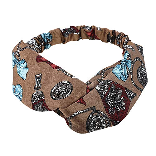 Ladies Womens Elastic Floral Print Headband Bandana Turban Hairband Head Wrap (Colors - Coffee #1)