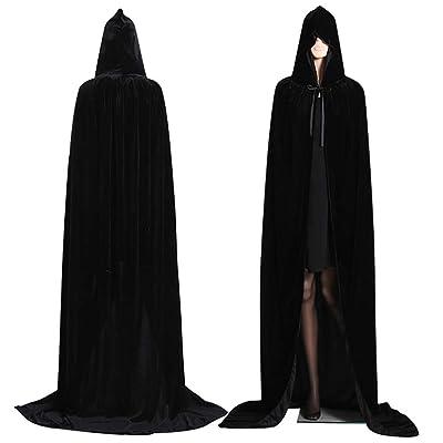 Alivier Capa de Capucha de Terciopelo Largo con Capucha de Terciopelo de Halloween Capa Disfraz de Vampiro Capucha Bruja de Boda: Hogar