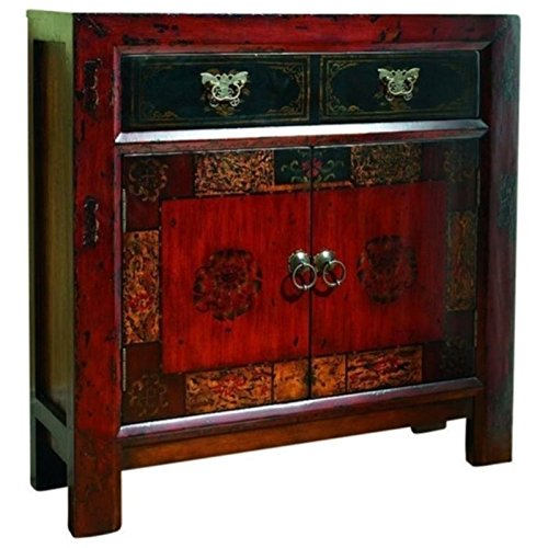 Price comparison product image Bowery Hill 2 Door Accent Chest in Red and Gesso with Gold Highlights