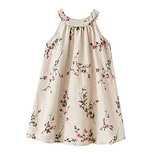 - Girls' 2T-12 Linen Casual Dress Summer Floral Tank Shift Dress,Beige,6-7 Years
