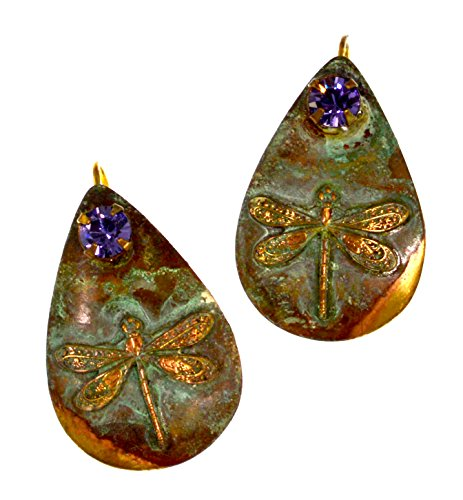 Patina Brass Dragonfly Teardrop Earrings - Tanzanite Swarovski Crystals