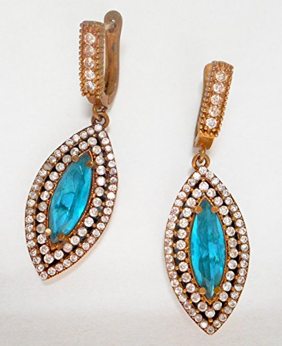 Vintage Ottoman 925 silver aquamarine and diamond long earrings